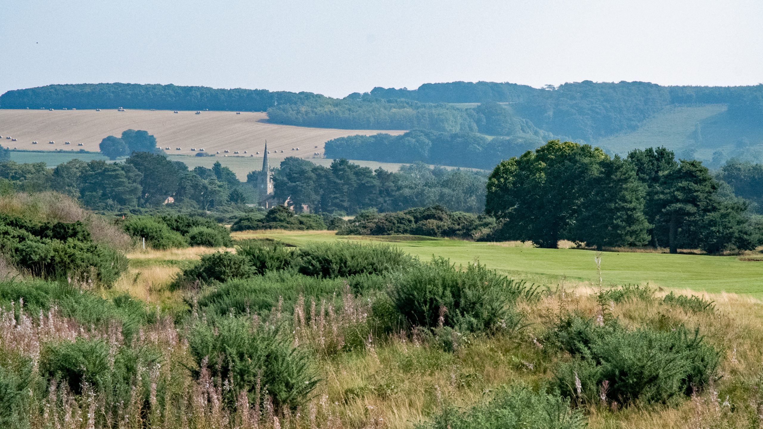 View of Ganton Church from the course